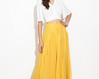 Yellow Chiffon Maxi skirt.Turquoise skirt.  Dark blue skirt. Maxi skirt. Chiffon Skirt. Floor-length. Summer skirt. The skirt for a party.