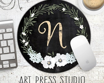 Chalkboard Initial Mousepad, Chalkboard Wreath Mouse Pad, Chalk Monogram and White Flowers Mousepad, Bridesmaids Gift, Bridal Shower