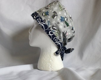 Gray Winter Foxes Surgical Scrub Cap Chemo Dental Hat