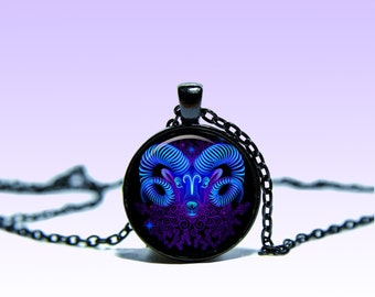Aries Art Zodiac Sign March 21 - April 20 Vintage Pendant Astrology NECKLACE Zodiac Jewelery Charm Pendant for Him or Her