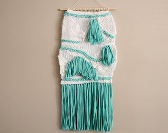 Woven Wall Hanging in Light Green and White, Weave, Weaving