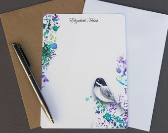Flat Note Cards Personalized, Note Card Stationery, Custom Note Card Set, Paper Stationary, Letter Writing Set, Watercolor Chickadee, Bird
