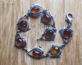 Amber Cabochon & Sterling Silver Dolphin Chain Link Bracelet~ Fine Amber Jewelry