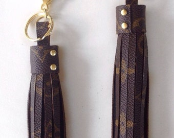 Louis Vuitton Bag Charm Tassel made with authentic Louis Vuitton canvas and black suede