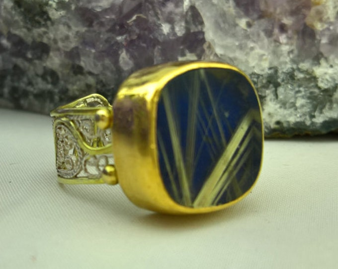 Featured listing image: Designer 22K and 18K Rutilated Quartz and Lapis Ring!  One of a kind stunning design!