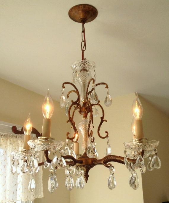 Antique Spanish Brass Crystal Chandelier Crystal Glass Center