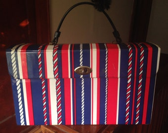 SALE! Red, ivory & blue hard-sided briefcase bag