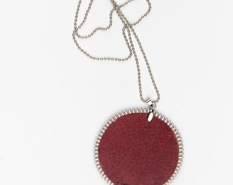 Red handmade zipped leather necklace, modern textile necklace, jewelry