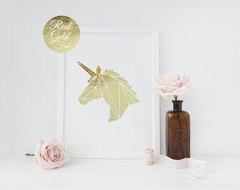 Unicorn Print, Real Gold Foil Print, Wall Decor, Gold Unicorn Poster, Minimal Art,Kids Room Decor, Geometric Poster, Nursery Decor, A3 print