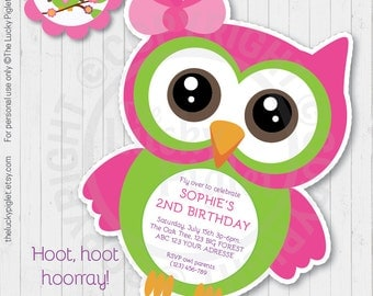 OWL INVITATION, PINK Owl Party Invitation, Owl Baby Shower Invitation, Owl Party Printables - Instant Download, Edit Text in Adobe Reader