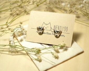 Baby Husky earrings handmade Tiny jewelry with linen cotton bag