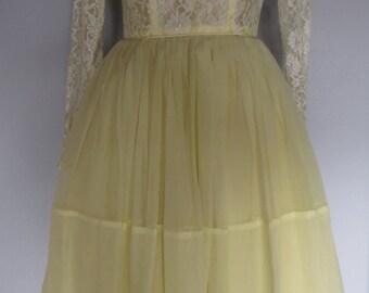 1950s Yellow Lace Dress