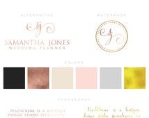 Rose gold Branding kit Logo Design Premade Branding Package- watermark- submark- stamp- business logo SAMANTHA JONES