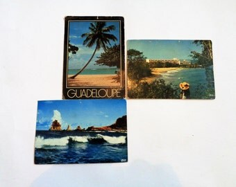 Postcards of Guadeloupe, Lot of 3, French Carribean, Beach Postcards, 80s