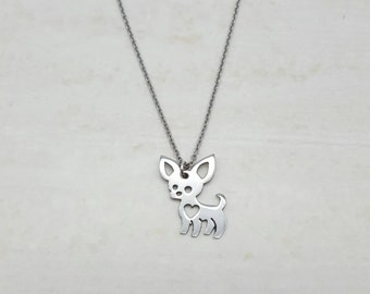CHIHUAHUA NECKLACE, Silver, Stainless steel, Dog lovers, Jewelry