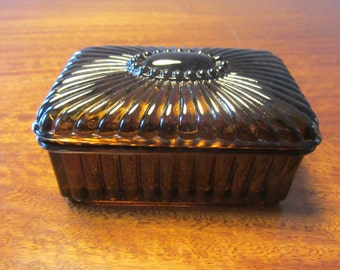 Portuguese Vintage - Amber depression glass Lidded Box - Made in Portugal - 1970s