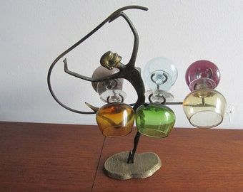 Vintage Dancer holder in Bronze with a Set of 6 Multicolored Footed Glasses - 1950s
