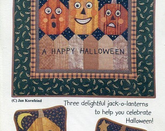 Free Us Ship Country Appliques JACK o LANTERNS THREE Pillow Applique Happy Halloween Pumpkin Craft Sewing Pattern