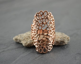 Rose Gold Lace Coral Reef Long Statement Ring - Gold Filigree Nature Ring