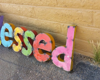 Metal Blessed Multi-Colored Sign