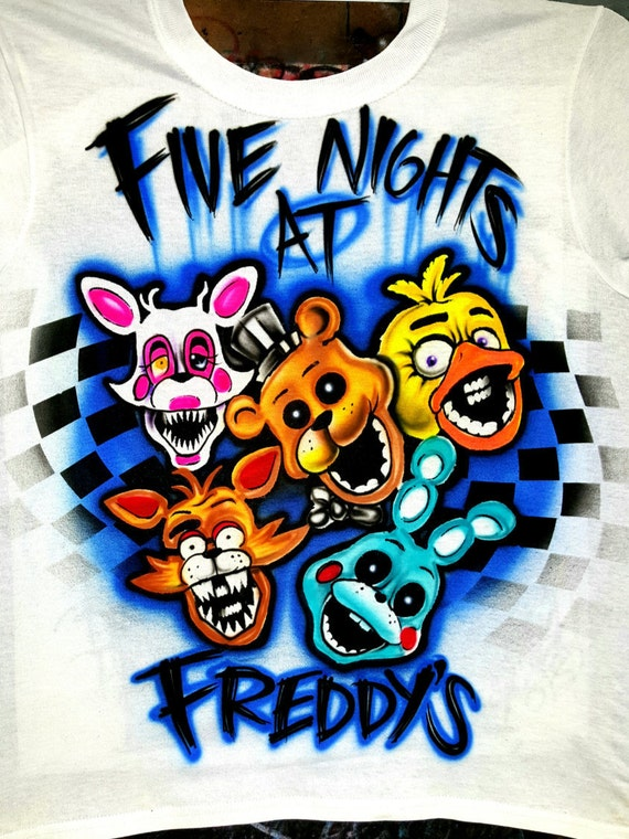 Five nights at freddy custom airbrushed t shirt customized for Custom made airbrushed shirts