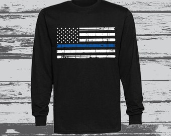 Thin Blue Line American Flag Long Sleeve T-Shirt/Back the Blue T-shirt/Police Officer/Christmas/Holiday Gift/Blue Lives Matter