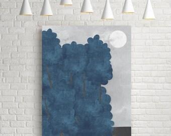 Watercolour print, giclee, minimalist print, wall art print, room decor, prints, forest landscape, tree print, blue print, tree art, forest