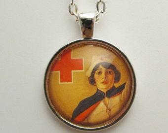 Vintage Nurse Photo Pendant, Glass Nurse Photo Jewelry, Nurse Pendant, Nurse Necklace, Nurse Jewelry, Gift for Nurse, Nursing Graduation