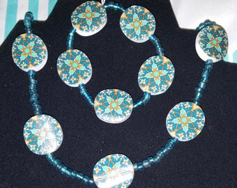 Handmade Teal Necklace and Bracelet