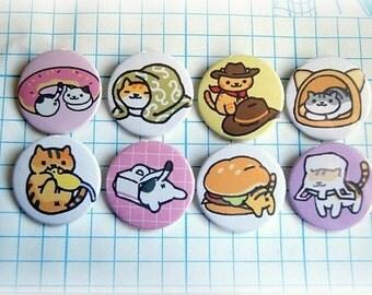 Neko Atsume cats set B - pinback button or magnet 1.5 Inch