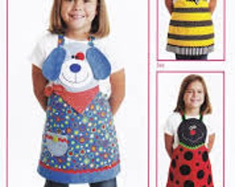 """Child's Apron PATTERN """"Cute Friends"""" Dog, Bumble Bee and Lady Bug"""