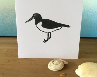 Hand Printed Oystercatcher Greetings Card - Block Printed on Recycled White Card
