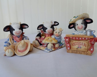 Enesco Mary's Moo Moos Cow Figurines (Group of 3 from 1993 and 1994)