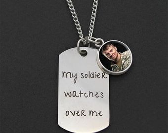 Custom Made With Your Photo! My Soldier Watches Over Me Mini Dogtag Veteran Soldier Army Memorial Necklace w/ Photo Charm