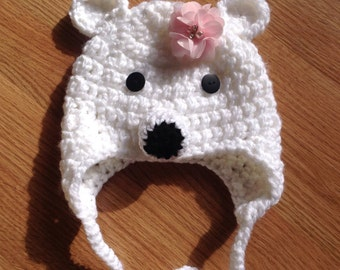 Baby Crocheted Hat, Hat for baby, Polar Bear Hat for Newborn,Polar Bear hat baby,Baby Polar Bear Hat, Baby Hat,