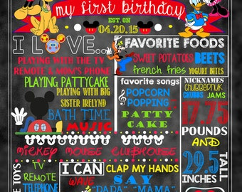 """Mickey Mouse Clubhouse Birthday Stat """"Chalkboard"""" (digital poster)"""