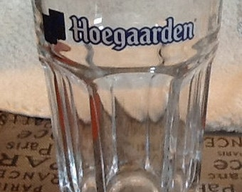 Hoegaarden SET OF 3 vintage (c.1980s) beer glasses w/etched logo in blue and white. Made in Belgium.  MINT!