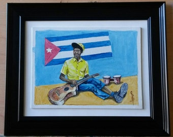 Cuban musician waiting for a gig painting