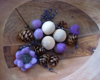 Pot pourri lilac and lavender scented with felted flowers and acorns Mother's Day gift