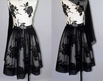 Vintage 1950's Black & White Floral Party Dress