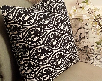 Black & White Scrolls Pillow