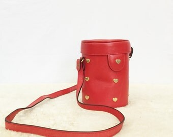 vintage Escada hearts cross body purse - red leather bucket bag - vintage designer shoulder bag