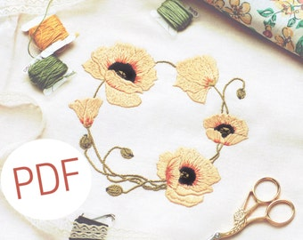 60% OFF Hand embroidery pattern PDF with intstructions, floral wreath embroidery, stitchery pattern, instant download