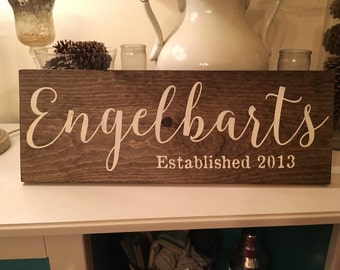 Family Established Sign Last Name Wood Sign Family Name Sign Family Sign Wedding Gift Last Name Gift For Her Personalized Established Date
