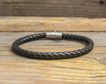 Black braided leather bracelet with magnetic clasp