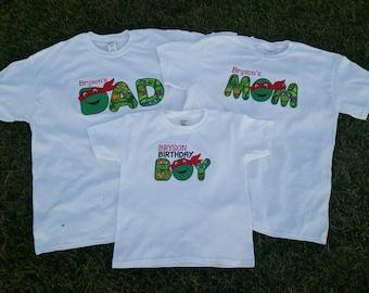Family Birthday Shirts- Turtle Birthday Shirts-Birthday Boy-Mom Birthday Shirt-Dad Birthday Shirt-(Each Shirt Sold Separately)