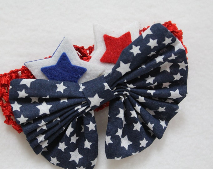 4th of July Headband, baby girl red white and blue headband, Fourth of July girl head band,Navy Blue large bow tie headband,Independence Day