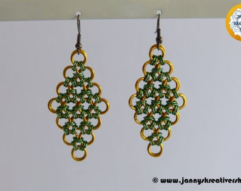 Earrings diamond golden yellow green, Chainmaille