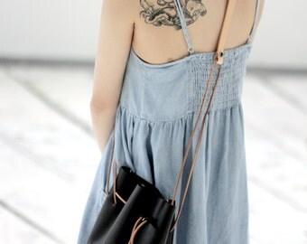 20% OFF   Maruko - Black Leather Drawstring Bucket Bag