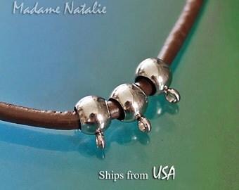 Stainless Steel Bails 4mm (6), Rondelle Bail Beads, European Style Stainless Steel Beads, Pendant Hanger Bail, Simple Design Bails